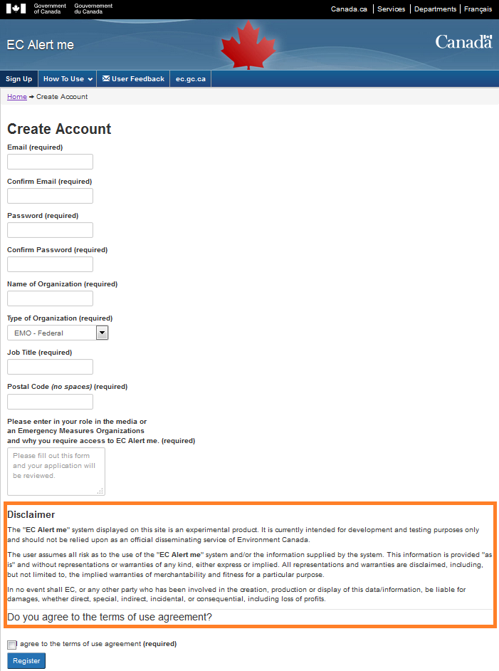 Sample image of new user registration form