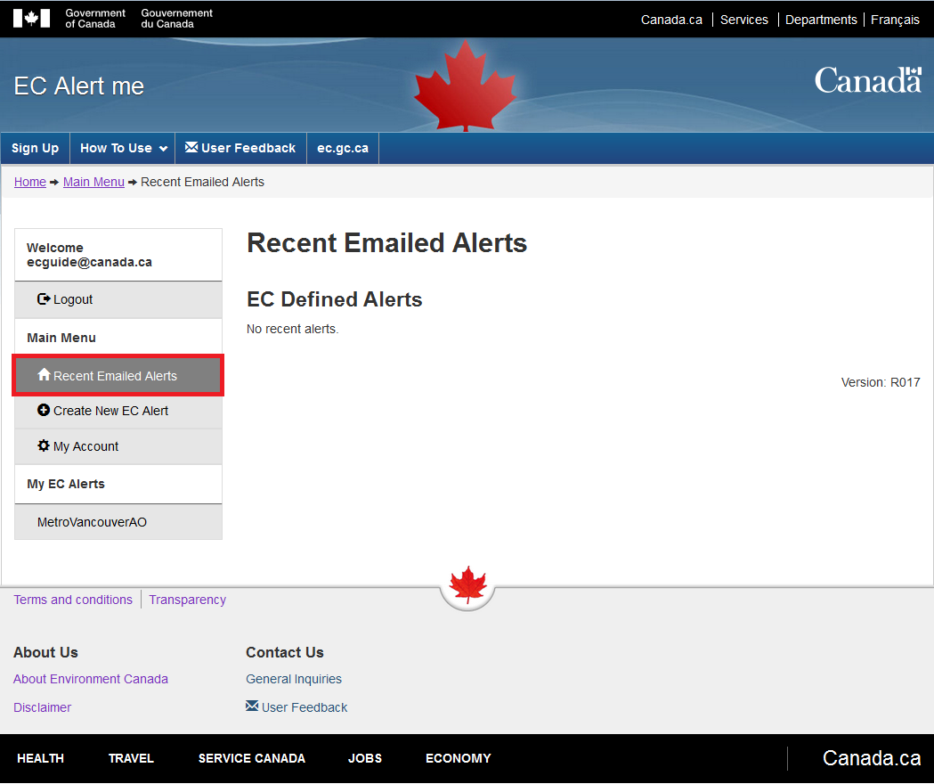 Sample image highlighting the 'Recent Alerts' link