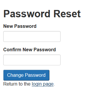 On the password reset page, the client will have to enter a new password in the two boxes.